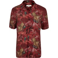 River Island Mens Red Tiger Print Short Sleeve Shirt