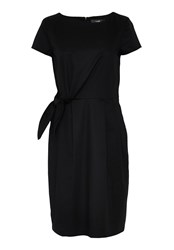 Hallhuber Wrap Dress With Tie Knot Feature Black