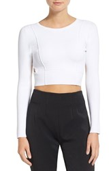 Kendall Kylie Women's Cutout Back Long Sleeve Crop Top Bright White