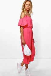 Boohoo Cold Shoulder Button Jumpsuit Coral