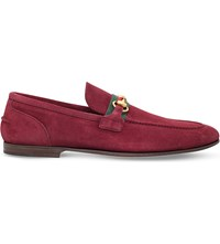 Gucci Elanor Horsebit Suede Loafers Red