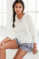 Ecote Lace Up Hoodie Sweater Ivory