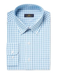 Club Room Estate Men's Classic Fit Wrinkle Resistant Aqua Box Check Dress Shirt Only At Macy's