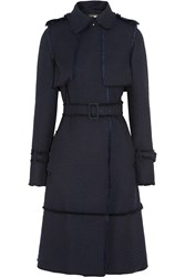 Erdem Reesi Frayed Textured Twill Trenchcoat Blue
