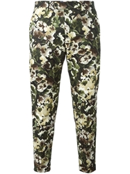 Msgm Camouflage Print Trousers Green