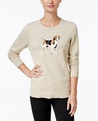 Charter Club Dog Graphic Sweater Only At Macy's Fawn Heather Combo