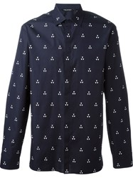 Neil Barrett Geometric Print Shirt Blue