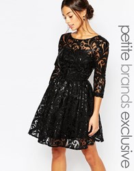 Chi Chi Petite Chi Chi London Petite Sequin Embellished Plunge Back Prom Dress Black