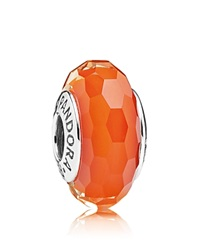 Pandora Design Pandora Charm Murano Glass And Sterling Silver Fascinating Orange Moments Collection Silver Orange