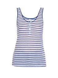 Frame Denim Le Nautical Striped Linen Tank Top Blue Stripe