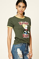 Forever 21 Richie Rich Graphic Ringer Tee Dark Green Yellow