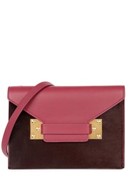 Sophie Hulme Milner Double Plum Leather And Calf Hair Clutch