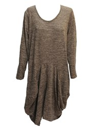 Feverfish Knitted Tunic Dress Brown