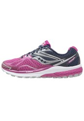 Saucony Ride 9 Cushioned Running Shoes Purple Blue Silver