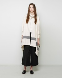 Apiece Apart Esperanza Neck Knit Poncho Ivory And Black