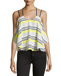 J.O.A. Joa Striped Split Strap Layered Tank Yellow Navy