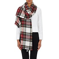 Barneys New York Women's Plaid Cashmere Blend Scarf Red