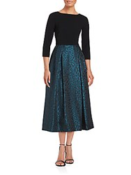 Theia Solid And Leopard Print Empire Dress Black Teal