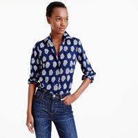 J.Crew Petite Perfect Shirt In Fern Printed Indian Cotton