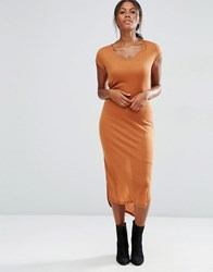 Vero Moda Jersey Ribbed Short Sleeve Midi Dress Adobe Orange