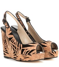 Jimmy Choo Prova Cork And Suede Wedge Sandals Beige
