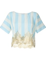 Rosamosario Lace Application Striped T Shirt Blue