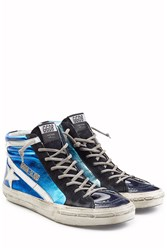 Golden Goose Slide Metallic And Patent Leather High Top Sneakers Multicolor
