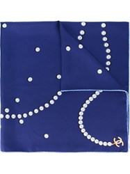 Chanel Vintage Pearl Print Scarf Blue