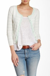 Wild Pearl Scoop Neck Cropped And Striped Cardigan Juniors Green