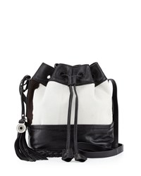 Isabella Fiore Dakota Calf Hair Leather Bucket Bag Black White