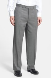 Linea Naturale 'Tic Weave' Super 100S Wool Trousers Gray