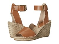 Soludos Open Toe Wedge Leather Tan Women's Wedge Shoes