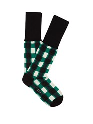 Marni Windowpane Checked Ankle Socks Green Multi