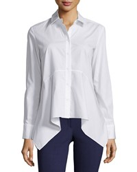 Zac Posen Dyna Cotton Long Sleeve Blouse White