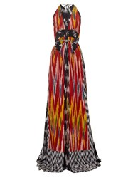 Altuzarra Peacock Ikat Print Silk Maxi Dress