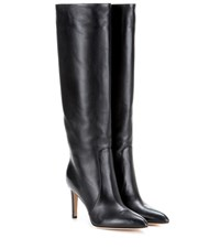 Gianvito Rossi Dana Leather Knee High Boots Black