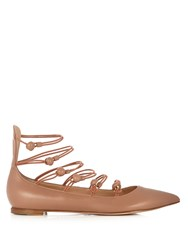 Gianvito Rossi Marquis Point Toe Leather Pumps Nude