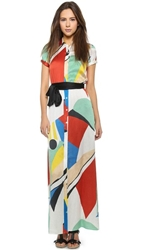 Alice Olivia Arlen Tie Belt Maxi Dress Colorblock Graphic