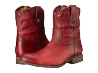 Frye Melissa Button Short Burgundy Washed Antique Pull Up Cowboy Boots Red