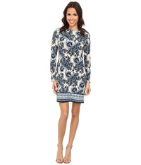 Michael Michael Kors Lakheri Long Sleeve Boat Neck Border Dress Heritage Blue Women's Dress Navy