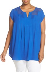 Daniel Rainn Plus Size Women's Lace Bib Short Sleeve Top Lapis Blue