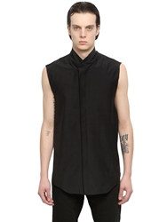 Julius Sleeveless Cotton And Silk Blend Shirt Black