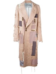 Heikki Salonen Fully Patched Long Coat Pink And Purple