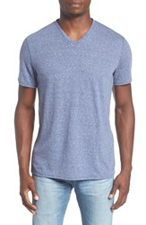 The Rail Men's Feeder Stripe V Neck T Shirt Blue Cobalt Sf