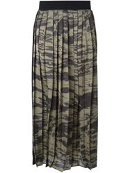 Enza Costa Long Pleated Skirt Grey