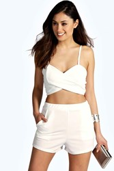 Boohoo Cross Front Bralet And Short Co Ord Set Ivory