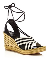 Marc Jacobs Dani Ankle Tie Espadrille Wedges Black White