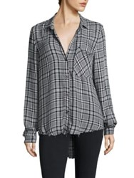 Bella Dahl Plaid Button Down Shirt Grey