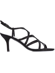 Stuart Weitzman Strappy Kitten Heel Sandals Black