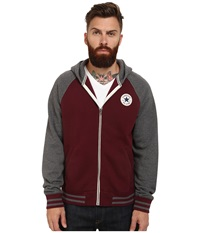Converse Patch Hooded Baseball Jacket Team Red Heather Men's Sweater